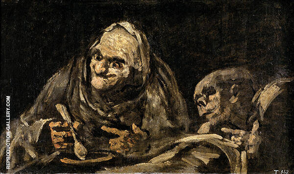 Two Men Eating Soup 1823 By Francisco Goya