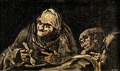 Two Men Eating Soup 1823 By Francisco Goya
