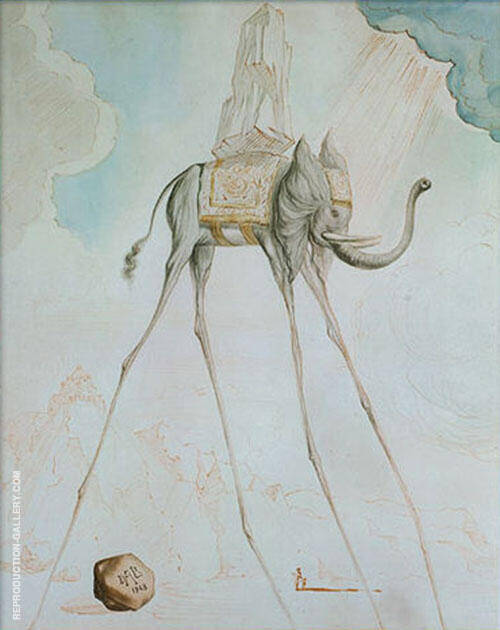 Elephant Giraffe 1965 Painting By Salvador Dali - Reproduction Gallery