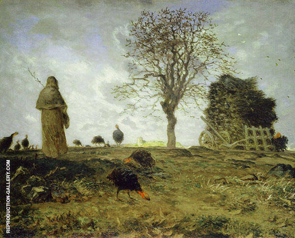 Autumn Landscape with Flock of Turkeys c1872 By Jean Francois Millet