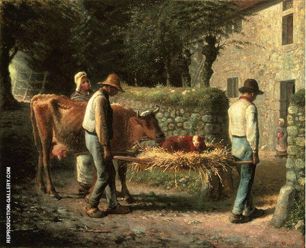 Peasant Bringing Home a Calf Born in the Fields By Jean Francois Millet