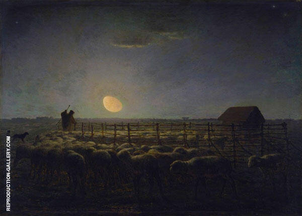 Sheepfold, Moonlight c1856 By Jean Francois Millet