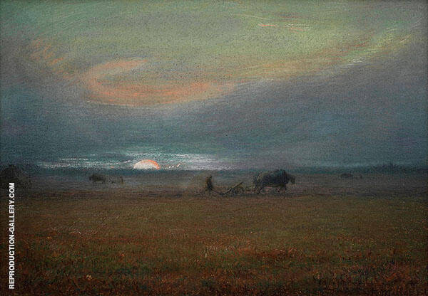 Ploughing at Sunset By Jean Francois Millet