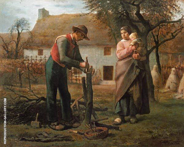 Peasant Grafting a Tree By Jean Francois Millet