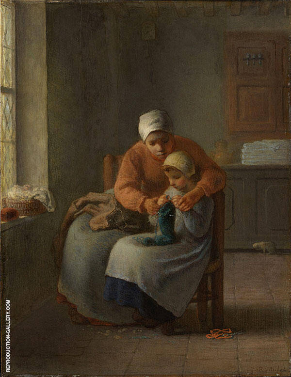 The Knitting Lesson c1860 By Jean Francois Millet