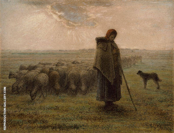The Shepherdess and her Flockc1862 By Jean Francois Millet