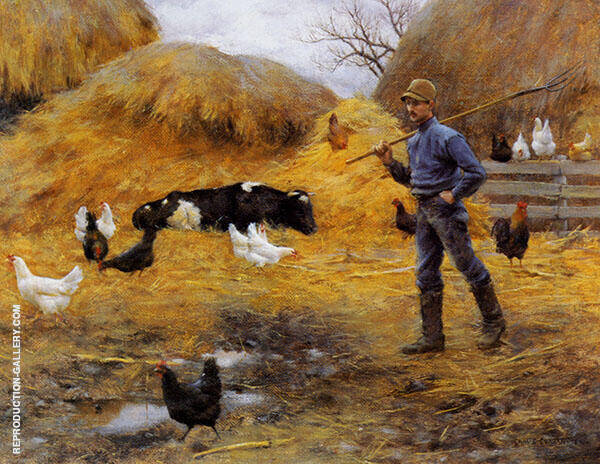 In The Barnyard By Charles Courtney Curran