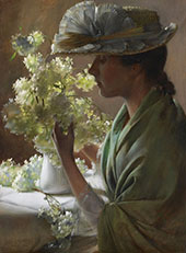 Lady with Bouquet By Charles Courtney Curran