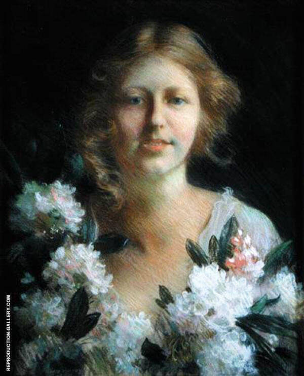 Portrait of Lady with Flowers By Charles Courtney Curran