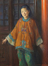Portrait of Liang L Ling By Charles Courtney Curran