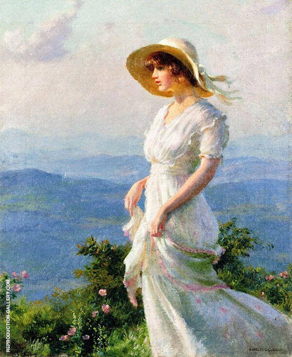 Woman with a Straw Hat By Charles Courtney Curran