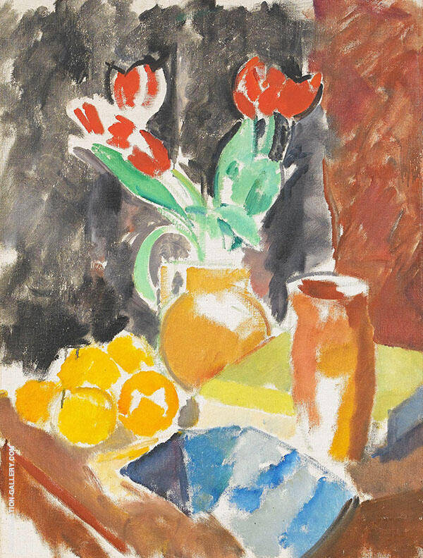 Nature Morte with Tulips and Oranges Painting By Karl Isakson