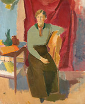 Sitting Woman in Green Blouse By Karl Isakson