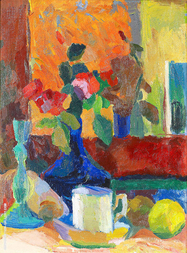Still Life With Flowers In Vase And Fruits By Karl Isakson