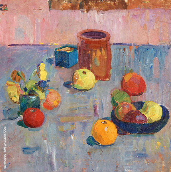 Still Life With Fruits And Pot Painting By Karl Isakson