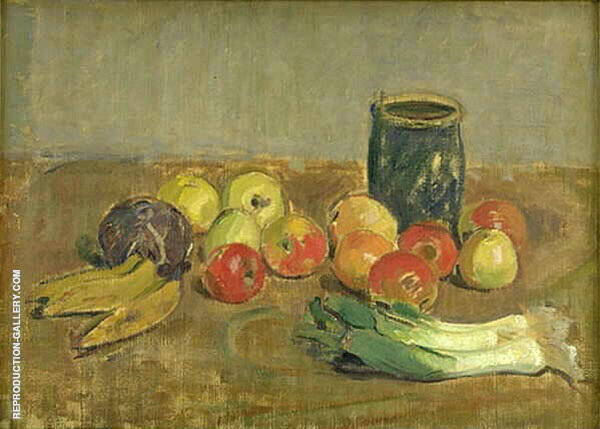 Still Life Apples Leeks Bananas and Green Jar By Karl Isakson