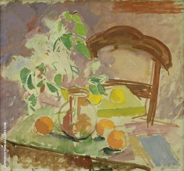 Still Life with Flowers Fruits and The Back of a Chair By Karl Isakson