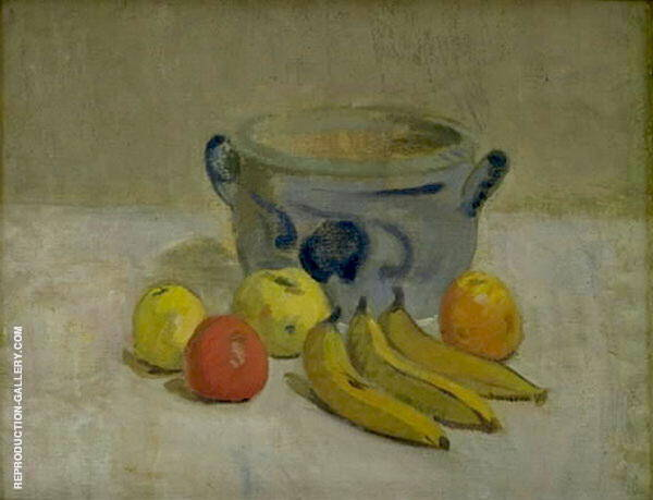 Still Life with Grey Jar Apples and Bananas By Karl Isakson