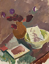 Still Life with Red Flowers in Brown Vase 1915 By Karl Isakson