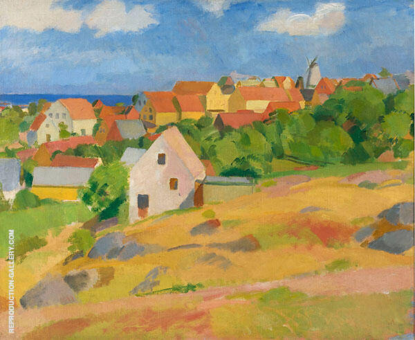 View over Gudhjem 1912 Painting By Karl Isakson - Reproduction Gallery
