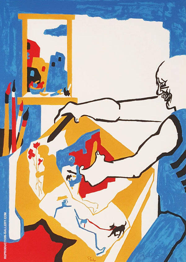 Artist in Studio 1994 By Jacob Lawrence