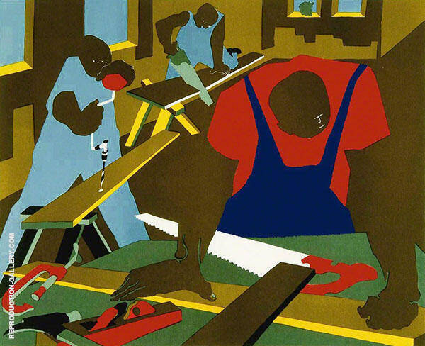 Carpenters 1977 Painting By Jacob Lawrence - Reproduction Gallery