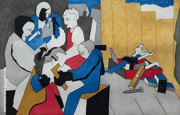 Five Builders with Tool Box 1996 By Jacob Lawrence