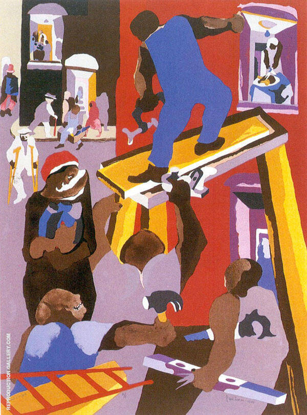 Man on a Scaffold 1985 Painting By Jacob Lawrence - Reproduction Gallery