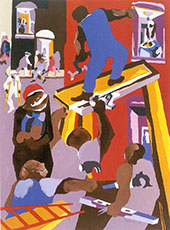 Man on a Scaffold 1985 By Jacob Lawrence