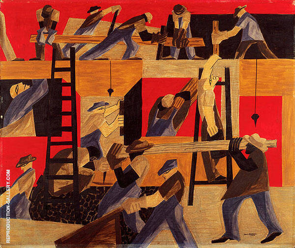 The Builders 1947 By Jacob Lawrence