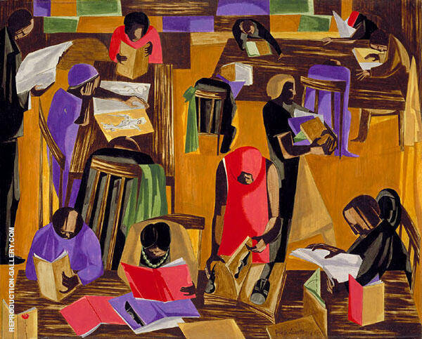 The Library 1960 Painting By Jacob Lawrence - Reproduction Gallery