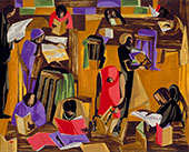 The Library 1960 By Jacob Lawrence