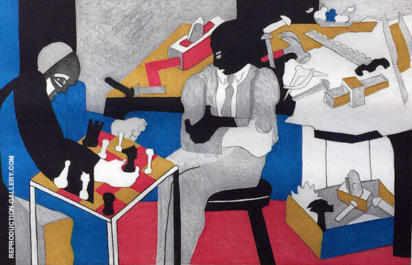 Two Builders Playing Chess 1996 Painting By Jacob Lawrence