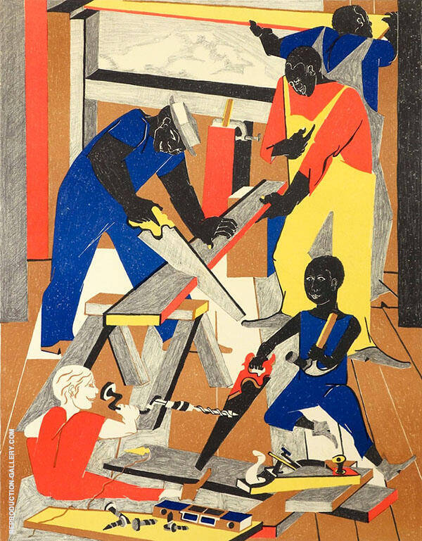 Workshop 1972 Painting By Jacob Lawrence - Reproduction Gallery