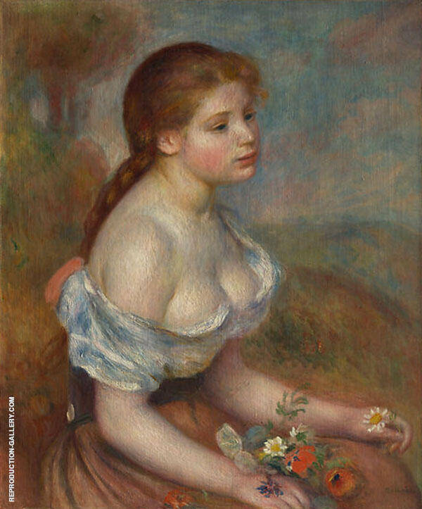 A Young Girl with Daisies 1889 By Pierre Auguste Renoir