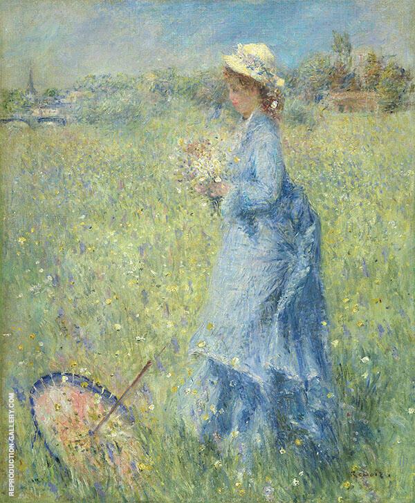 Girl Gathering Flowers c1872 By Pierre Auguste Renoir