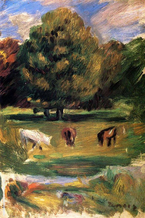Landscape with Horses By Pierre Auguste Renoir