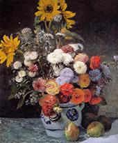 Mixed Flowers in an Earthenware Pot 1869 By Pierre Auguste Renoir