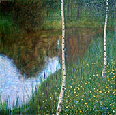 Bank of a Lake with Birch Trees By Gustav Klimt