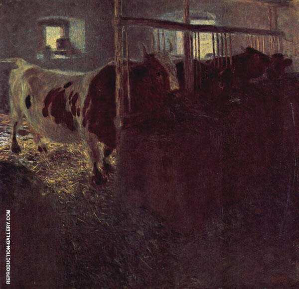 Cows in a Barn 1899 By Gustav Klimt