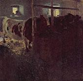 Cows in a Barn 1899 By Gustav Klimt