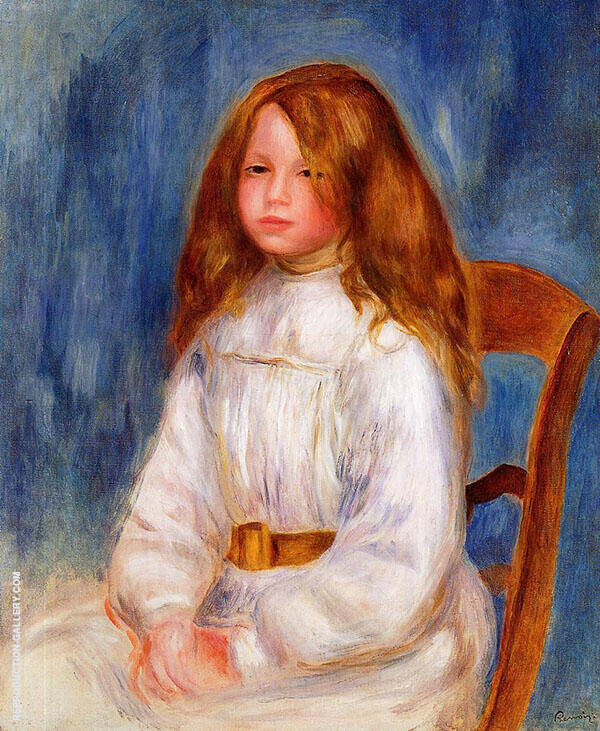 Seated Little Girl with a Blue Background 1890 By Pierre Auguste Renoir