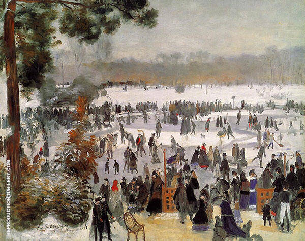 Skaters in The Boid de Boulogne 1868 By Pierre Auguste Renoir