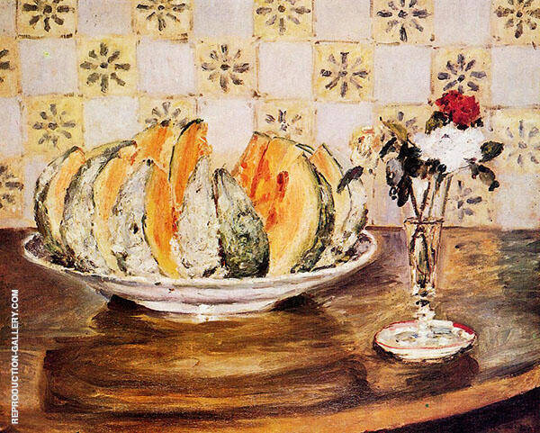 Still Life with a Melon and a Vase of Flowers 1872 By Pierre Auguste Renoir