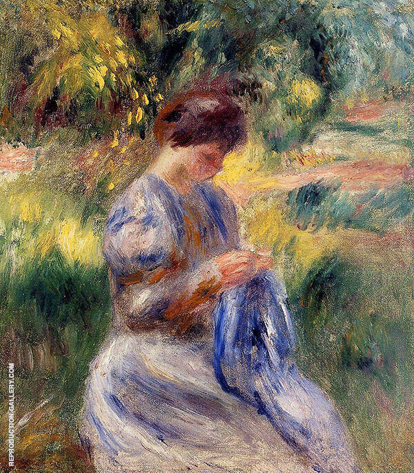 The Embroiderer aka Woman Embroidering in a Garden 1898 By Pierre Auguste Renoir