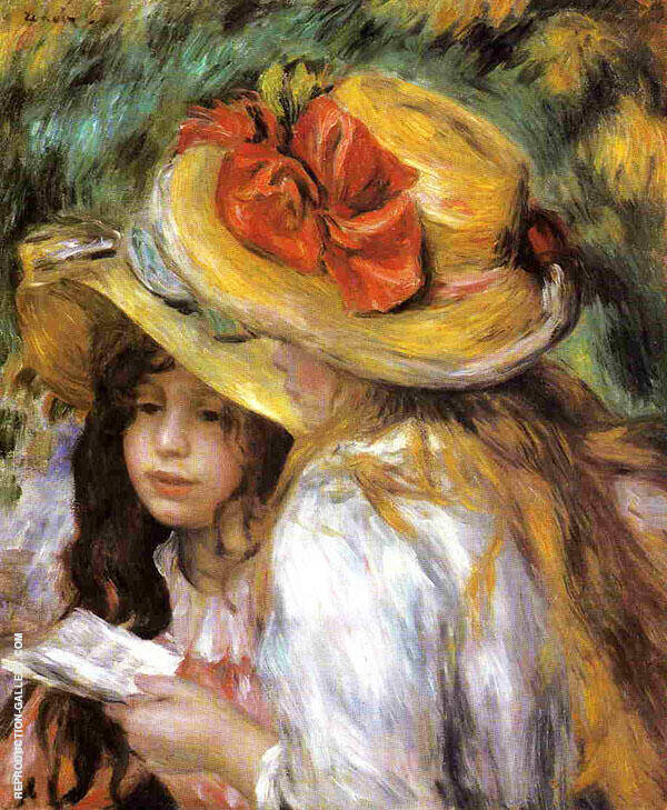 Two Young Girls Reading 1890 Painting By Pierre Auguste Renoir