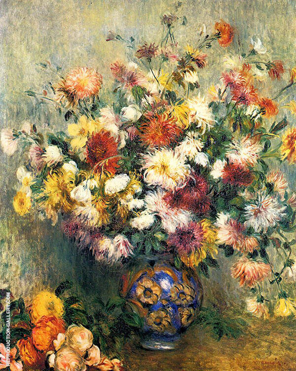 Vase of Chrysanthemums 1880 By Pierre Auguste Renoir