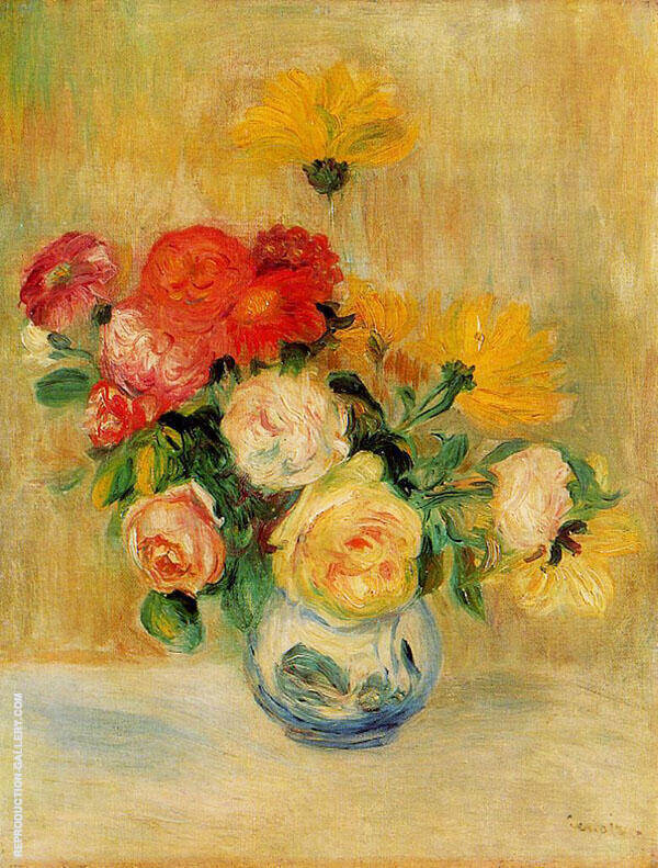 Vase of Roses and Dahlias 1883 By Pierre Auguste Renoir