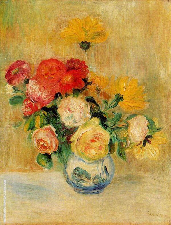 Vase of Roses and Dahlias 1883 By Pierre Auguste Renoir