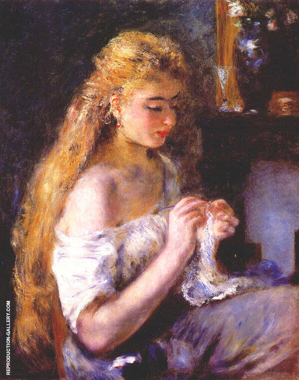 Woman Crocheting Painting By Pierre Auguste Renoir - Reproduction Gallery